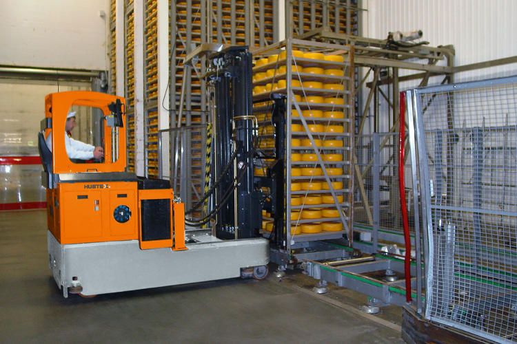 A reach truck in the food industry.