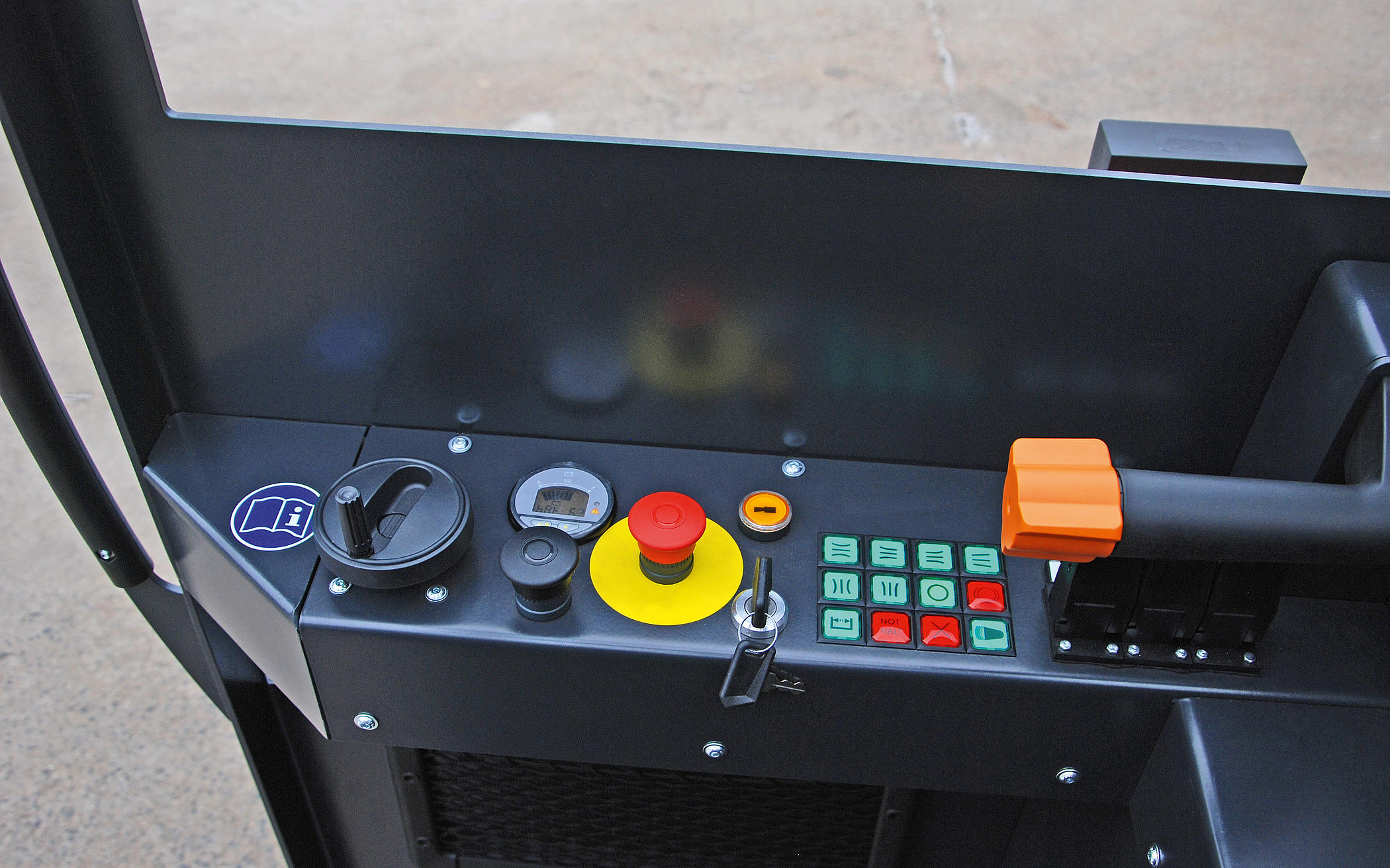 the controls of the HUBTEX BasiX multidirectional sideloader