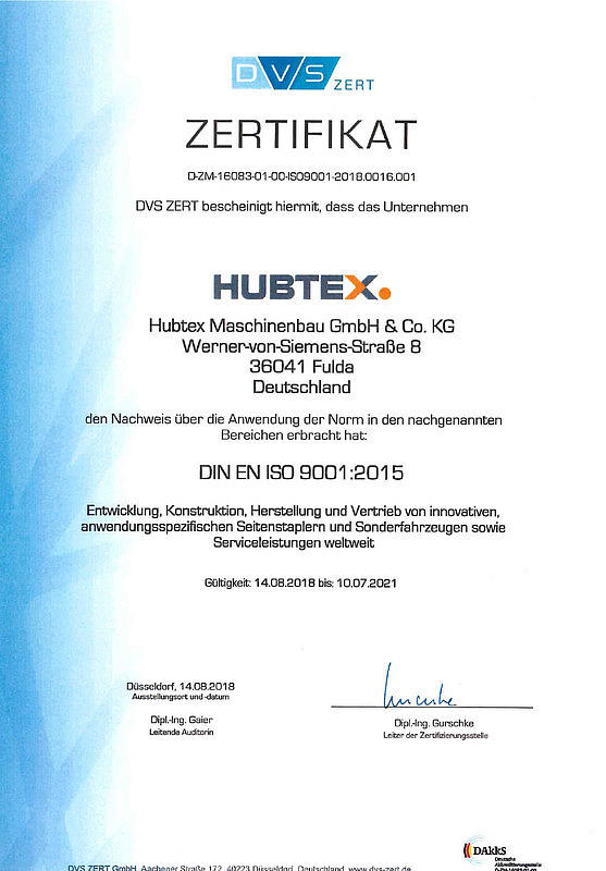 ISO 9001_2015 certification from HUBTEX