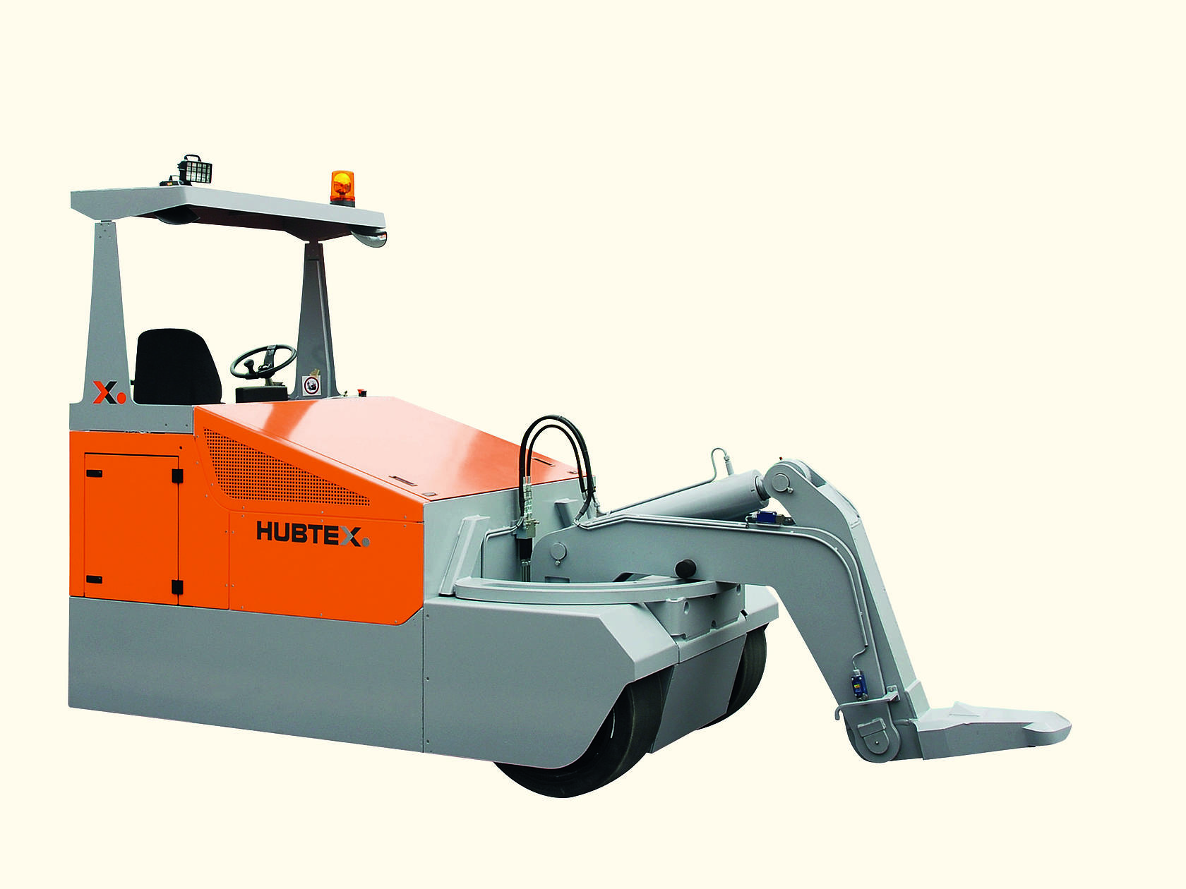 HUBTEX electric towing tractor with gooseneck.