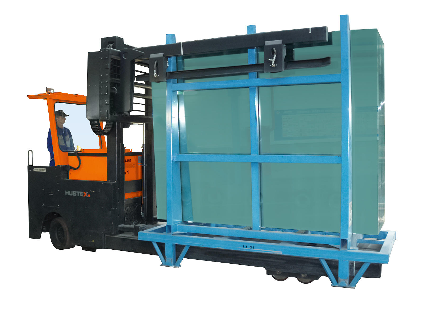 GTT glass frame transporter in HUBTEX handling process