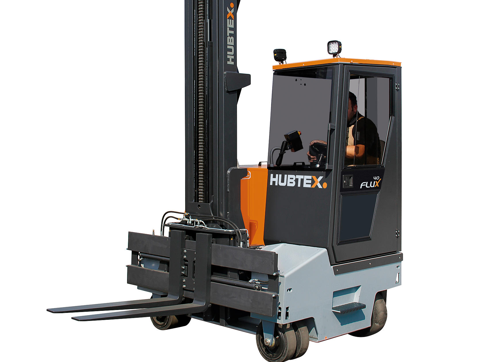 The FluX electric multidirectional counterbalance forklift from HUBTEX